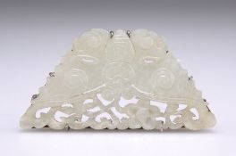 A CHINESE SILVER-MOUNTED PALE CELADON JADE BROOCH