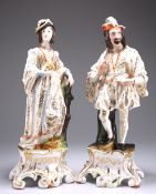 A LARGE PAIR OF CONTINENTAL PORCELAIN FIGURES