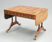 A FINE REGENCY SATINWOOD INLAID AND YEW WOOD CROSSBANDED ROSEWOOD SOFA TABLE