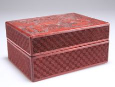 A 19TH CENTURY CHINESE CINNABAR LACQUER BOX AND COVER