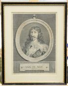 A GROUP OF FIVE PICTURES, including an 18th Century portrait engraving