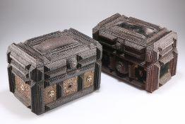 TWO TRAMP ART CASKETS, CIRCA 1900