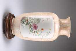 A CHINESE PORCELAIN FAUX BAMBOO VASE