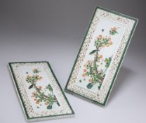 A PAIR OF CHINESE FAMILLE VERTE PORCELAIN PANELS