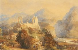 ENGLISH SCHOOL (19TH CENTURY), FIGURES AND RUINS IN A LANDSCAPE