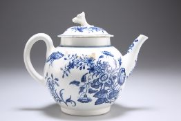 A WORCESTER BLUE AND WHITE PORCELAIN TEAPOT, CIRCA 1770
