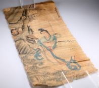 A JAPANESE SCROLL PAINTING, signed. 78cm by 38.5cm