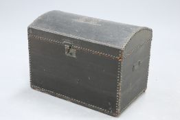 A 19TH CENTURY BRASS-STUDDED LEATHER DOME-TOP TRUNK