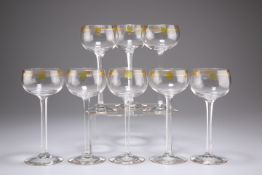 A SET OF EIGHT GERMAN ART NOUVEAU THERESIENTHAL JUGENDSTIL HOCK GLASSES, CIRCA 1905