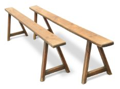A PAIR OF 19TH CENTURY FRUITWOOD BENCHES
