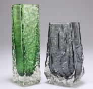 WHITEFRIARS, TWO TEXTURED GLASS VASES