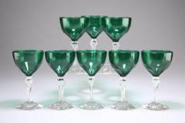 A SET OF EIGHT EARLY 19TH CENTURY BRISTOL GREEN GLASS WINES