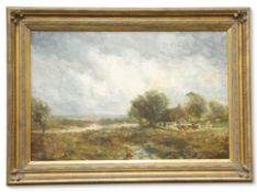 JOHN FALCONER SLATER (1857-1937), CATTLE AND FARMER BY A COTTAGE