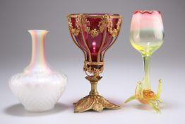 A VICTORIAN VASELINE URANIUM GLASS TULIP VASE, PROBABLY BY H.G. RICHARDSON, CIRCA 1890