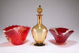 AN ART DECO AMBER AND BLACK GLASS DECANTER, ETC.