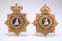 TWO EXAMPLES OF OTHER RANKS' PATTERN HELMET PLATES OF THE NORFOLK REGIMENT