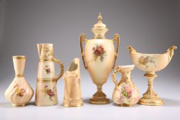 A GROUP OF ROYAL WORCESTER BLUSH IVORY