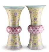 A NEAR-PAIR OF LARGE CHINESE FAMILLE ROSE LOTUS-FORM VASES