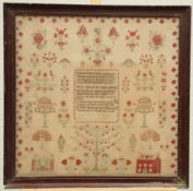 A LARGE EARLY VICTORIAN SAMPLER
