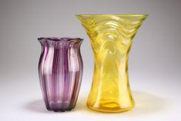 A THOMAS WEBB & SONS LARGE URANIUM YELLOW GLASS VASE, CIRCA 1930S