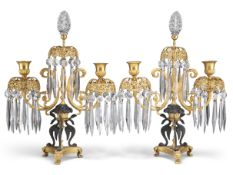 A PAIR OF EMPIRE REVIVAL GILT AND PATINATED BRONZE TWO-LIGHT LUSTRE CANDELABRA, CIRCA 1880