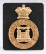 A POST-1881 OTHER RANKS' PATTERN THREE-PIECE GLENGARRY BADGE OF THE NORTHAMPTONSHIRE REGIMENT