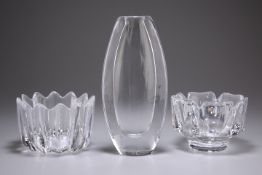 THREE PIECES OF ORREFORS STUDIO GLASS, AND THREE OTHERS