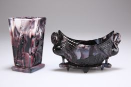 TWO PIECES OF VICTORIAN SOWERBY MALACHITE GLASS