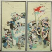 CHINESE SCHOOL (CIRCA 1930), A LARGE PAIR OF WATERCOLOURS