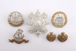 FOUR VICTORIAN/EARLY 20TH CENTURY OTHER RANKS' PATTERN CAP BADGES