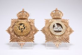TWO POST-1902 EXAMPLES OF OTHER RANKS' PATTERN HELMET PLATES