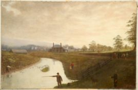 AMERICAN PROVINCIAL SCHOOL (19TH CENTURY), RIVER LANDSCAPE WITH FIGURES AND DISTANT TOWN