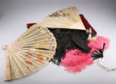 THREE 19TH CENTURY FANS, AND A JET BEADED CAPELET