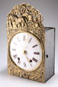 A 19TH CENTURY FRENCH COMTOISE BRASS HANGING WALL CLOCK