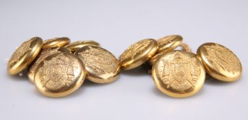 ELEVEN GILT-METAL FRENCH MILITARY UNIFORM BUTTONS, EARLY 19TH CENTURY