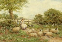 ENGLISH SCHOOL (19TH CENTURY), SHEPHERDESS AND FLOCK AT REST,