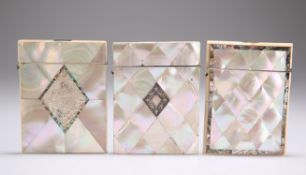 THREE 19TH CENTURY MOTHER-OF-PEARL VISITING CARD CASES