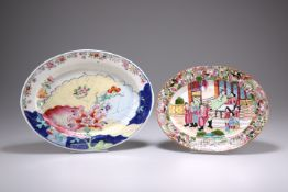 TWO CHINESE PORCELAIN OVAL DISHES