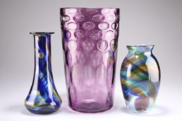 A RICHARDSONS AMETHYST OPTIC GLASS VASE, AND TWO OTHERS