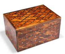 A STRIKING CONTEMPORARY INLAID AND BURR WOOD BOX