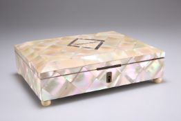 A VICTORIAN MOTHER-OF-PEARL HANDKERCHIEF BOX