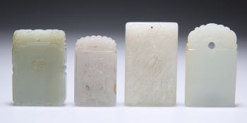 FOUR CHINESE CARVED JADE PENDANT