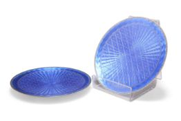 A STRIKING PAIR OF NORWEGIAN SILVER AND BLUE ENAMEL DISHES