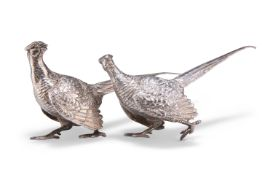 TWO SMALL SILVER COCK PHEASANTS