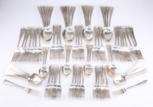 A PARTIAL CANTEEN OF VICTORIAN SILVER-PLATED HANOVERIAN FLATWARE