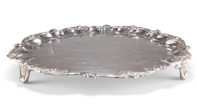 A LARGE VICTORIAN SILVER-PLATED SALVER