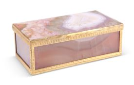 A BANDED AGATE TRINKET BOX AND COVER