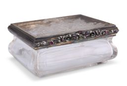 A 19TH CENTURY CONTINENTAL DIAMOND AND RUBY SET ROCK CRYSTAL BOX