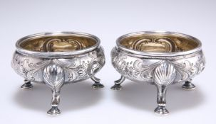 A PAIR OF 18TH CENTURY SCOTTISH SILVER SALTS
