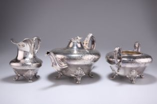 A WILLIAM IV SILVER-PLATED THREE-PIECE TEA SERVICE